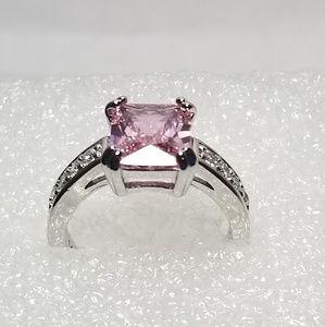 14K WG 3.58ct Pink Sapphire Diamond Ring Size 6.